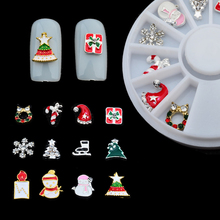 12Pcs/Box Christmas Pattern Nail Art Rivet Decals Nail Studs Rhinestones 3D Nail Decorations Stickers Square Nails Accesories