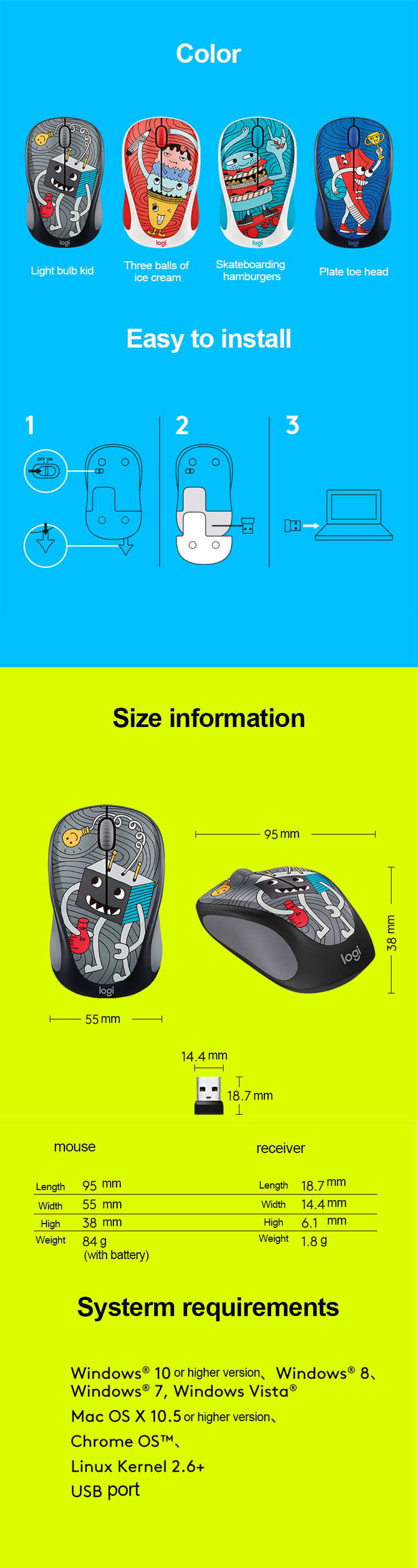 Original New Logitech M238-V3 Wireless Mouse Gaming Light Mini Mouse Graffiti Mause Game Mice Retail Package