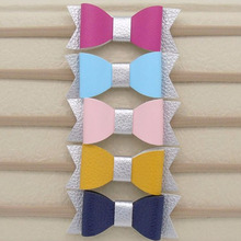 10Pcs/lot Faux Leather Bow Bowknot Infant Hairband Super-Elastic Nylon Headband For Children Baby Kids