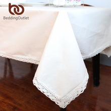 BeddingOutlet Pure Beige Tablecloth Cotton Linen Dinner Solid Color Table Cloth Macrame Decoration Lacy Table Cover Waterproof