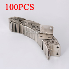 100PCS 23*23*32mm Metal Corner Brackets Joint Fastening Iron 90 Degree L-Shape Furniture Shelf Support Brace Furniture Connector(China)