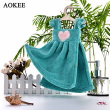AOKEE Cute Small Thick Hand Towels Coral Fleece  Hanging Hand Wipe Restaurant Kitchen Dress Towels Princess with hanger for kids