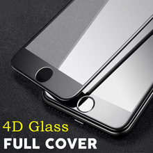4D 9H Front Screen Protector For iPhone 7 plus Full Cover Tempered Glass Color Mobile Phone Protection Film For iPhone 6 6s Plus