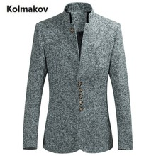 KOLMAKOV 2017 autumn new high quality men's fashion stand collar suit,men casual wool single-breasted jacket blazers,size M-6XL