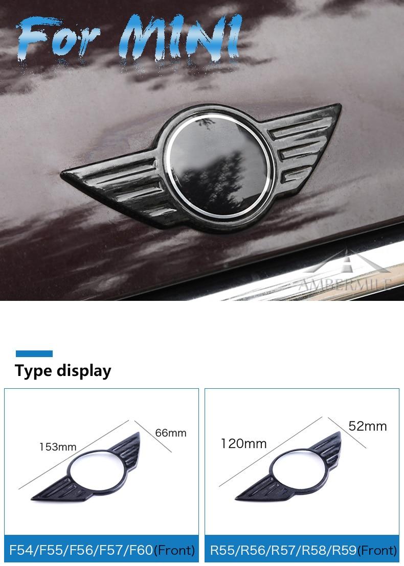 Carbon Fiber Car Logo Front Hood Badge Rear Trunk Emblem for Mini Cooper F54 F55 F56 F60 R60 R61 R55 R56 Countryman (1)