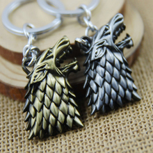 Hearts Q Jewelry Game of Thrones Keychain House Stark Winter is Coming Metal Wolf Keyring Key Chain Top Quality Dropshipping(China)