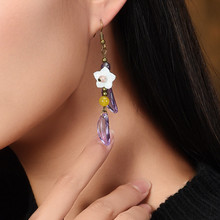 Buy woman earring fashion jewelry 2018 new item purple crystal flower drop earrings retail wholesale accessories free D145 for $3.99 in AliExpress store