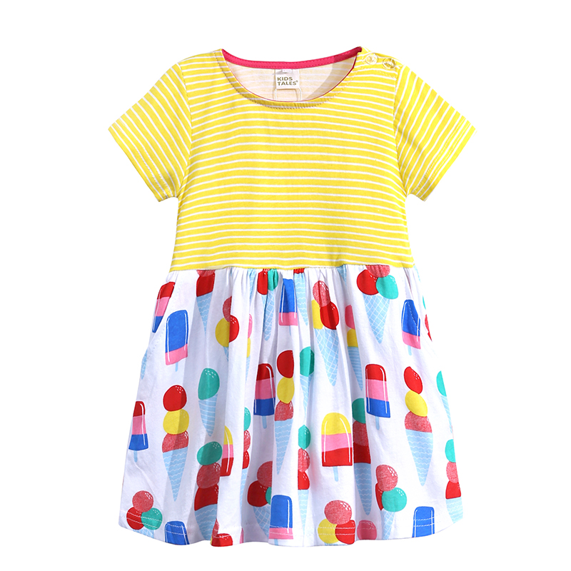 Kids Tales baby girl summer clothes Cotton Striped Floral Short Sleeve dress elegant for 2 3 4 5 6 years kid girl princess dress