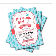 20 pcs/lot Umbrella Baby shower Invitations Birthday Invites party decoration supplier girls Baby Shower decor free shipping