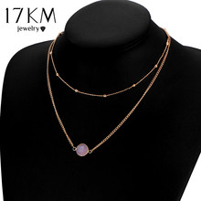 17KM Boho Natural Crystal Choker Necklaces for Women 2017 Multicolor Beads Double Layer Necklace Collier Chain Party Jewelry(China)