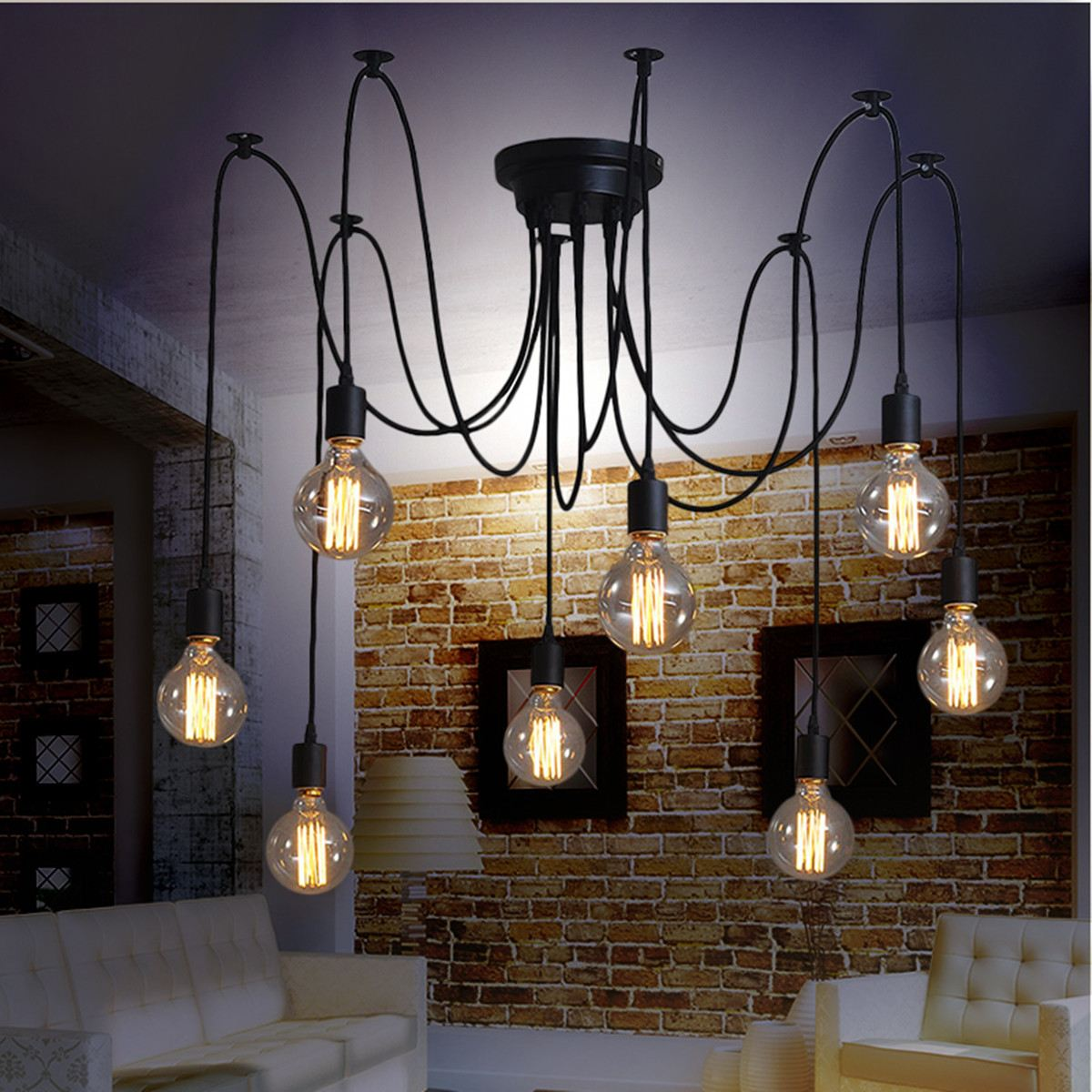 Modern Retro DIY 8 Pendant Lights Hanging E27 Edison Bulb Spider Night Lamp Fixture Living Room