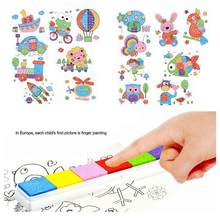 8Pcs/Set Cute Cartoon DIY Kids Finger Painting Craft Set Children Colorful Fingerpaint Drawing Education Learning Picture Toys(China)