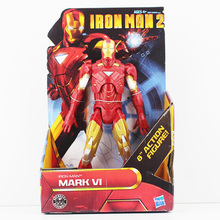 "The Avengers Iron Man 2 Mark 42 VI PVC Action Figures Toy Iron Man Figure New in Box 8""20cm Free Shipping(China)"