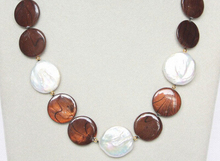 "free shipping 18"" coin white pearls coffee seashell necklace(China)"