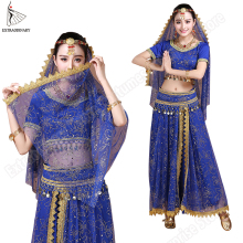 Bellydance Skirt Suit Headpieces-Veil Bollywood Chiffon Indian Women 5pcs