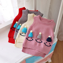 Baby Girl Sweater Vest 2017 Autumn Winter Children Clothing Red Gray Sleeveless Cartoon Snowman Hat Knitted Baby Sweater Costume