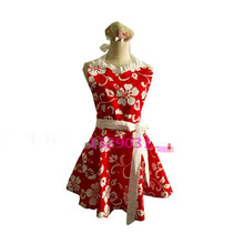 Bodecin Sweetheart White Flowers Red Retro Kitchen Apron Woman Cotton Cooking Avental de Cozinha Pinafore Apron Dress Vintage(China)