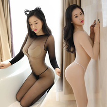 Buy Sexy Crotchless Lingerie Bodystocking Ultra-thin Transparent Tights Stocking Long-sleeve Open Crotch Women Full Body Pantyhose