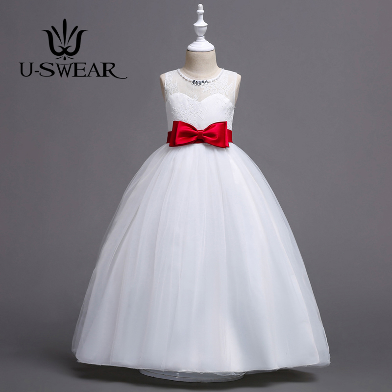 U-SWEAR 2019 New Arrival 4 Colors Bow Kid White Flower Girl Dresses O-neck Crystal Beaded Sleeveless Ball Gown Vestidos