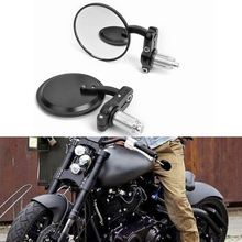 "NEW CNC MOTORCYCLE 3"" ROUND BLACK 7/8"" HANDLE BAR END MIRRORS CAFE RACER BOBBER CLUBMAN(China)"