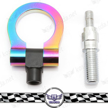 Neo Chrome Rounded Tow Hooks European Japanese Rainbow Folding Rear Screw on Racing Towing Hook Aluminum(China)