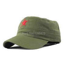 Hot Sale Vintage Unisex Women Men Patrol Fatigue Army Cap Fabric Adjustable Red Star Sun Casual Military Hat(China)