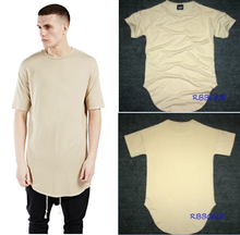 Europe and the United States high street arc T-shirt Clubman shoulder hanging shirt Beige