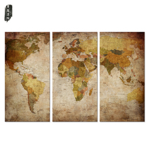No Frame 3 Pieces Drop Shipping Canvas Wall Paintings Still Life World Map Canvas Decoration painting Wall art poster pictures