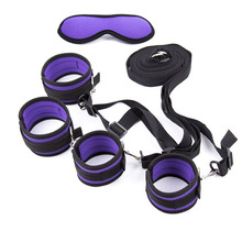 Buy Bed Restraints Bondage Belt Blindfold Hand Ankle Cuffs Slave Bdsm Adult Games Handcuffs Eyepatch Satin Sex Toys Couples