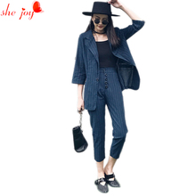 Office Ladies Stripe Blazer + Pants 2pc Set Suit for Women Leisure Blazers Suits Women's Clothings Work Wears Twinset Tracksuit(China)