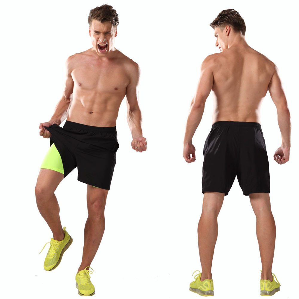 Men 2 in 1 Running Shorts Spandex Fitness Training Gym Bodybuilding Workout Bottoms 2016 Summer  Breathable Sport Jogging Short<br><br>Aliexpress