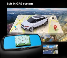 Dual lens 5 inch Android 4.0 Car Rear view mirror Car DVR Camera + Rear View camera Bluetooth Wifi GPS function MP4/5 PIP USB