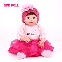 "NPKDOLL 55 CM BeBe Dolls Reborn 22"" Lifelike Doll Reborn For Girls Full Body Soft Silicone Reborn Babies Toys For COLLECTION(China)"