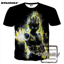 Dykhmily 2017 Summer New Arrival Dragon Ball Z Anime Character Yellow Glow 3d Print Black Funny T Shirt Men Explosion Section(China)