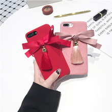 JiBan Tassel bow for iphone X mobile phone shell Chinese red festive microfiber flannel soft shell for iphone 6 6s 7 plus case(China)