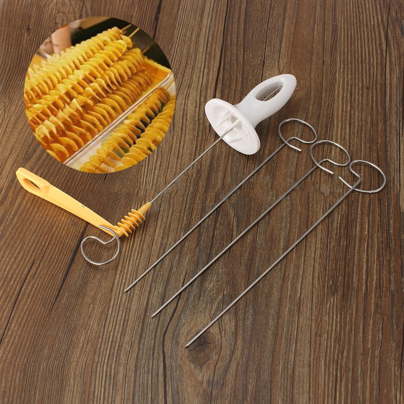 DIY 1PCS New Potato Spiral Cutter Slicer Twister Tornado 4 Spits Chips Hand Shredder Tool