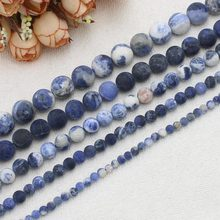 "Wholesale Natural Frosted Sodalite Stone 4-12mm Round Beads15""/38cm,BeadsFor DIY Jewelry Making ! wholesale for all items!"