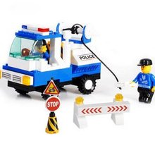 Candice guo! Building blocks set police car wrecker educational plastic toy fancy assembles particles kids love most(China)
