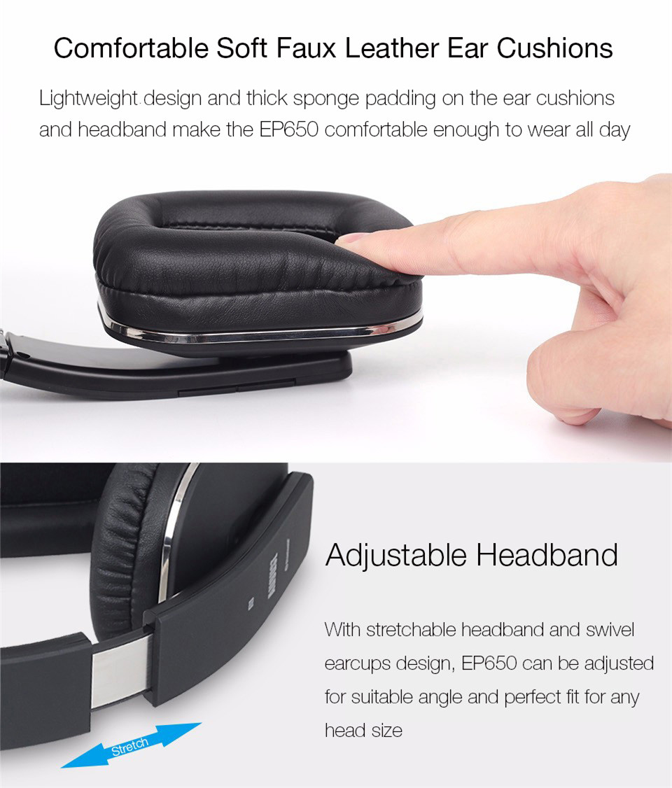 August EP650 Bluetooth Headphones with soft ear muffs and flexible headband