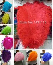 Free shipping! Wholesale 50pcs natural red hair ostrich feather 35-40cm / 14-16 inch feather wedding ceremony hot(China)