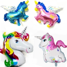 2pcs/lot Giant Rainbow Unicorn Pegasus Foil Balloons Cartoon Animal Helium Float Ballon Kids Toys Birthday Party decoration gift