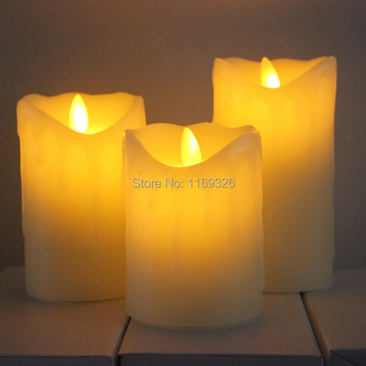 New Wax Drip Pillar Candles Moving Flame Led Candle Light Dancing Wick Free Home