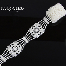 2 Yards Misaya Mesh Embroidered Applique Flower Lace Stamps Fabric,DIY Wedding Dress Patch Stickers Lace Ribbon