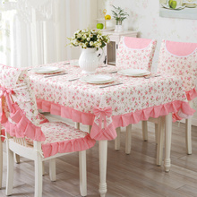 9 pcs/set Dining Room Table Cloth with Chair Covers & Mats Sweet Pink Wedding Tablecloths Rectangular Table Cover toalha de mesa