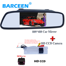 4.3 inch HD led Mirror Monitor 2ch Video Input 800*480 +Car back up camera for Nissan March/For Renault Logan /Sandero
