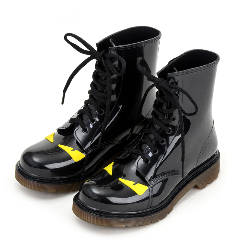 Eye Monster Rubber Rain Boots For Women PVC Mid-calf Cartoon Waterproof Lace-up Casual Breathable Water Shoes Female Botas Mujer<br><br>Aliexpress