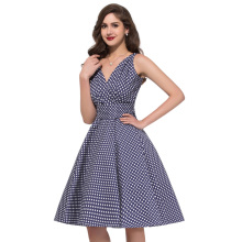 Polka Dot Dress Women Summer 2017 Big Swing Vestidos Retro Robe Casual Prom Rockabilly Party Dress 50s 60s Pinup Vintage Dresses(China)