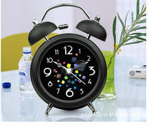2018 New clock one pcs resell Silent night light metal large bell alarm clock 3 inch colorful rubik's cube(China)