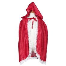 Little Red Riding Hood Costume Girls Red Cap Cloak Children Anime Cosplay Cape Clothing for Kids with Lace Carnival Halloween(China)