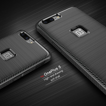 For OnePlus 5 Case Silicone Housing Carbon Fiber Texture Shockproof Soft Brushed Rubber Back Cover Phone Cases For One Plus 5(China)